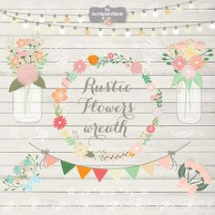 Rustic/Retro flower wreath clipart by burlapandlace on Creative Market