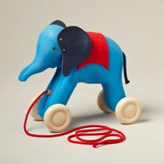 classic wooden elephant pull along toy