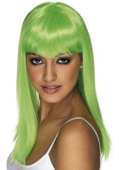 Smiffys Women's Long and Straight Neon Green Wig with Bangs, One Size, Glamourama Wig, 5020570421598 Best Halloween Costumes & Dresses USA Green Wig, Blue Wig, Halloween Fancy Dress, Halloween Kostüm, Halloween Costumes, Frontal Hairstyles, Girl Hairstyles, Queen Of Hearts Wig, Lace Front Wigs