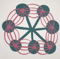 Cassie Jones | Works on Paper - Duralar 2009 II / #green #pink radial  and rotational balance