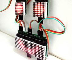 This instructable shows how to control an array of 8x8 LED matrices using an Arduino Uno. This guide might be used to create a simple (and relatively cheap displa...