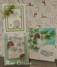 Close To My Heart Perfectly Pine (A1191) stamp set paired with Oh Deer! Paper Packet (X7214B) for Christmas Cards