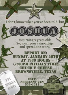 Deb's Party Designs - Military Theme Birthday Invitation, $1.00 (http://www.debspartydesigns.com/military-theme-birthday-invitation/)