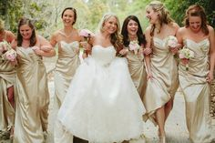 Get inspired: Gold #bridesmaid dresses... love this #wedding colour!
