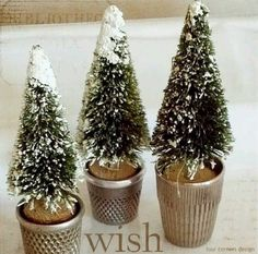 Bottle brush trees in thimbles!