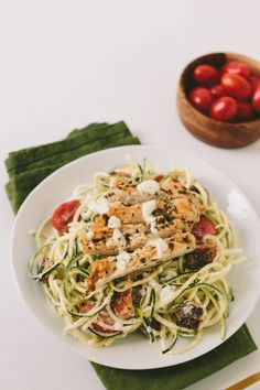 Gluten-Free Caesar Zucchini Noodles with Grilled Lemon Chicken, Tomatoes and Breadcrumbs. Healthy. Low fat.