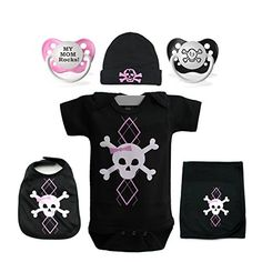 GIRLS PINK ARGYLE SKULL 6 PIECE BABY GIFT SET SIZE NEWBORN  -Click image twice for more info - see a larger selection of baby girl clothing sets at http://zbabyproducts.com/product-category/baby-girl-clothing-sets/ - baby, infants, baby girl ,girls fashion, baby clothing , baby gift ideas, kids gift ideas, holidays, christmas2014