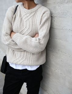#7 White cable knit sweater & white shirt/blouse