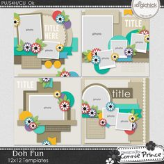 Doh Fun - 12x12 Temps (CU Ok) by Connie Prince. Includes 4 12x12 templates. saved as layered PSD & TIF files as well as individual PNG files. Also. includes layered .page files for use with SBC+3. SBC 4 & Panstoria Artisan software. Scrap for hire / others ok. Commercial Use Ok, NO credit required.