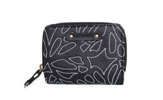 This leather zipper wallet is embroidered with designer's il gelsomino pattern. The wallet is fully lined with top quality satin. An optional style in white is available for this style.   www.buymedesign.com  Price: $42