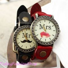 Couple watches, vintage,leather watches,men watches, women watches,Mrs Red lips and Mrs Red lips watches C-22 on Etsy, $19.89