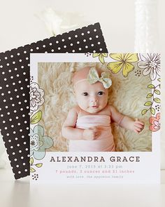 Dress your birth announcements in pretty florals and whimsical patterns from Tiny Prints.