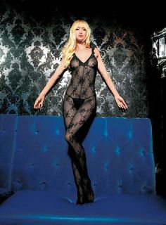 Leg Avenue Bodystocking 89015 Stylish boudoir rose lace bodystocking with V-shaped neckline with tone-to-tone trim, matching shoulder straps and middle sewing with open crotch. http://www.MightGet.com/january-2017-12/leg-avenue-bodystocking-89015.asp