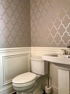 Half bathroom accent wall makeover ideas on a budget using easy to use wall stencil patterns from Cutting Edge Stencils Wallpaper Accent Wall Bathroom, Wall Wallpaper, Powder Room Wallpaper, Wallpaper Ideas, Half Bathroom With Wallpaper, Wall Paper Bathroom, Bathroom Wallpaper Vintage, Wall Stencil Patterns, Stencil Designs