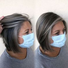 Brown Hair With Silver Highlights, Grey Brown Hair, Black And Grey Hair, Grey Bob, Short Grey Hair, Short Hair Styles, Grey Hair With Blonde Highlights, Grey Hair Styles, Grey Hair Looks