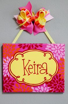 Pink orange and yellow modern flower burst hand painted name sign by KraftinMommy,