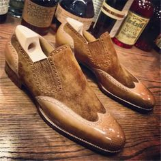 The Wingtip Loafe Pointed Toe Men's Dress Shoes Fancy Shoes, Trendy Shoes, Formal Shoes, Dress Formal, Mens Business Shoes, Driving Shoes Men, Suede Leather Shoes, Calf Leather, Dress With Boots