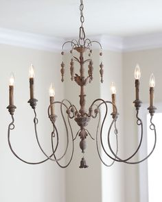 Vintage French Soul ~ Elegant and Rustic Six-Light Persian Chandelier