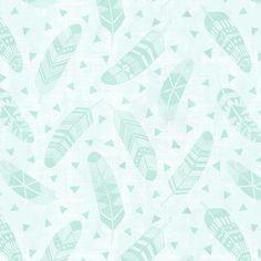 Feathers - Mint  fabric by kimsa on Spoonflower - custom fabric