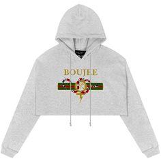 Boujee Cropped Hoodie in Gray (1,225 MXN) ❤ liked on Polyvore featuring tops, hoodies, hoodie crop top, grey cropped hoodie, grey top, crop top and gray hooded sweatshirt