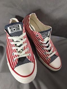 52ee93fa9355 CONVERSE All Star Red White Blue American Flag Shoes Sneakers Unisex M 7.5  W 9.5