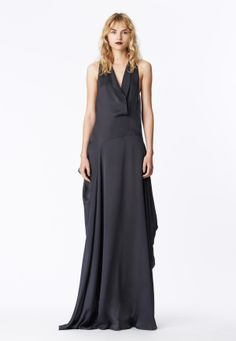 LOOK 21 Charcoal silk satin chiffon asymmetrical sling gown.
