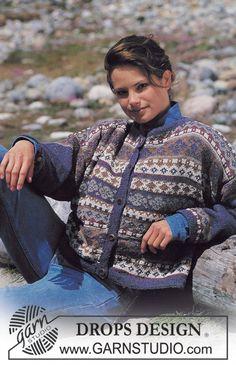 """Gebreid DROPS Vest met ingebreide Noorse randen van """"Silke-Tweed"""". Maat S - L. ~ DROPS Design"""