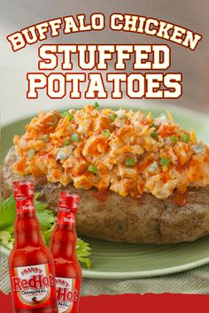 Go for the conversion with these Buffalo Chicken Stuffed Potatoes that can be served up as a side dish or cut in half for Big Game party appetizers.