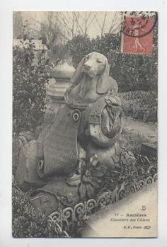 V1094  DOG CEMETARY FRANCE GRAVE OF TECKEL DACHSHUND  POSTCARD
