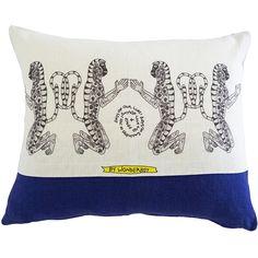 Scatter Cushion.  Wonder boy Range: Monkey Stripe Blue.