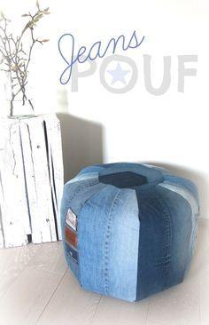 Schon lange wollte ich mal einen Pouf nähen...wusste nur nicht aus welchen Stoffen.     Da kammen mir die alten Jeans meines Mannes g...