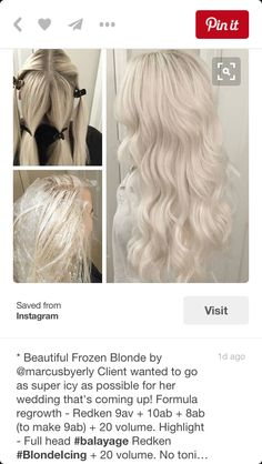 Frozen Blonde — using Redken — Root formula: + + (to make + 20 vol. Highlights: Full head balayage Redken Blonde Icing + 20 vol. No toning! Love Hair, Gorgeous Hair, Icy Hair, Ice Blonde Hair, Ash Blonde, Blonde Balayage, Ombre Hair, Platinum Hair Color, Hair Color Formulas