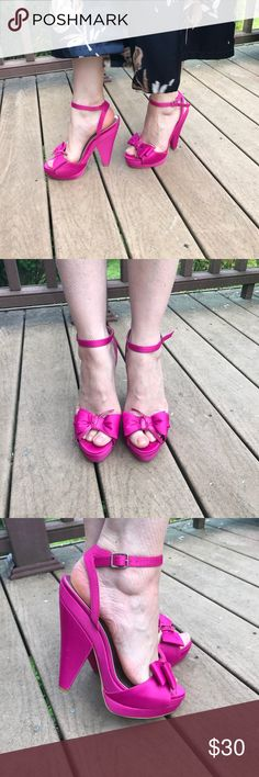 Hot pink heels with bows Beautiful satin shoes in excellent condition, worn once 💕 rsvp Shoes Heels