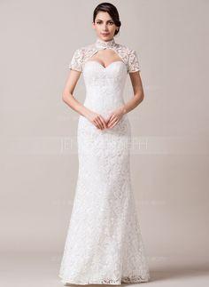 Wedding Dresses - $259.99 - Trumpet/Mermaid High Neck Floor-Length Lace Wedding Dress (002065587) http://jennyjoseph.com/Trumpet-Mermaid-High-Neck-Floor-Length-Lace-Wedding-Dress-002065587-g65587
