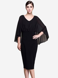 Vinfemass Batwing Sleeve Ruffle Black Pencil Dress 77c665da2542