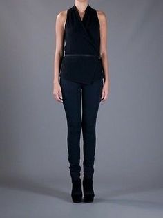NWT $290 Helmut Lang Delta Overlap Belted Blouse, Size S Black Will End Soon ($109 on sale!)