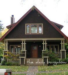 Vintage house plans craftsman exterior colors 48 ideas for 2019 Best Exterior Paint, Exterior Paint Colors For House, Paint Colors For Home, Craftsman Exterior Colors, Exterior Color Palette, Ranch Exterior, Bungalow Exterior, Bungalow Porch, Brown Paint Colors