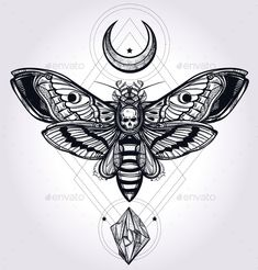Deaths Head Hawk Moth With Moons And Stones. — JPG Image #butterfly #creative • Available here → https://graphicriver.net/item/deaths-head-hawk-moth-with-moons-and-stones-/13636050?ref=pxcr