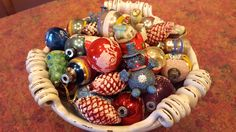 These are Christmas ornaments from my childhood....some were purchased in my time (like the little blue sparkly snowman); the others were when my Mom and Dad got married and had their first Christmas together.  :)