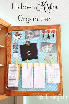 Inside cabinet door organizer for receipts, bills to be paid, etc- instead of on the fridge. Maybe inside front hall closet?