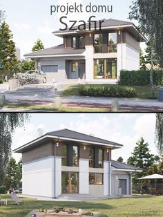 """Projekt małego domu piętrowego do 120 m2 powierzchni, z jednostanowiskowym garażem. Układ wnętrza """"Szafira"""" jest prosty i przejrzysty, wręcz idealny dla czteroosobowej rodziny. Jasne, doświetlone dużymi oknami 3 sypialnie na piętrze, otwarta kuchnia połączona z salonem i jadalnią to jedne z wielu atutów tego projektu. Niemonotonna, ciekawa architektura budynku, a także jego ustawne, otwarte, jasne wnętrza czynią z niego dom przyjemny dla oka, jak również wygodny w życiu codziennym. Home Fashion, My Dream, Mansions, House Styles, Interior, Houses, Home Decor, The World, Architecture"""