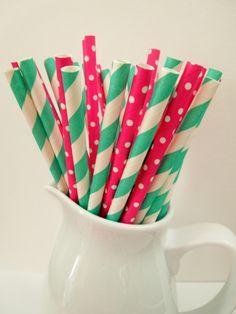 25 Paper Straws Fuchsia Dots and Aqua/Greenish Stripe Drinking Straw Mix Wedding Mason Jar Straw Rustic Wedding Straw Birthday Bridal Shower $2.99