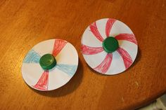 DIY Spinners from Family Fun magazine, use red, white, and blue for a patriotic craft!