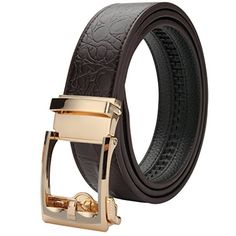 XIANGUO Men's Automatic Buckle Leather Belts Black XIANGUO…