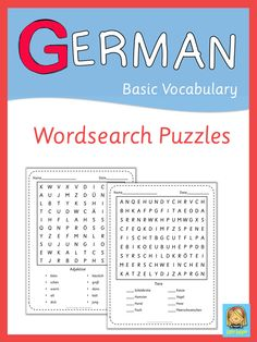 This set has  39 German wordsearch puzzles to supplement your foreign language lessons. All major topics are covered.