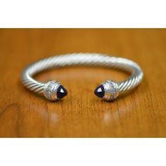 David Yurman Cable Classics 7mm Sterling Silver Bangle Bracelet w/Amethyst