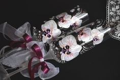 Orchid wedding glasses Hand painted by InspirationsArtGlass