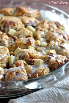 Ooey gooey cinnamon rolls with apples and pecans!