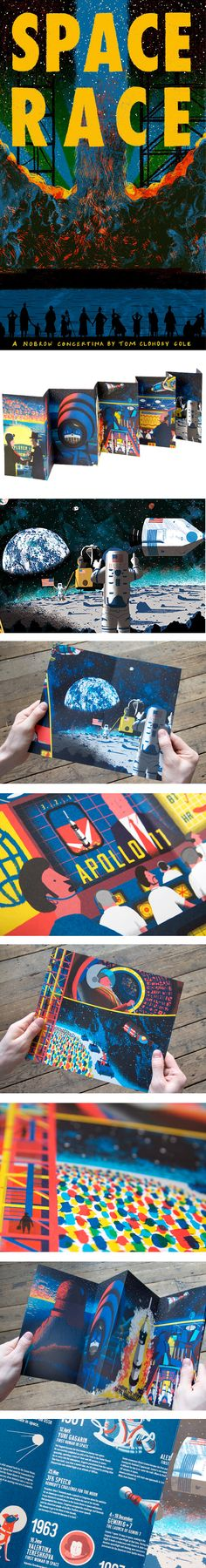 Space Race by Tom Clohosy Cole is a stunning picture book lovingly recreating the American astronauts' and Russian cosmonauts' race to the moon landing: from Yuri Gagarin to Neil Armstrong and NASA mission control. Like the other concertinas in Nobrow's Leporello series, this beautiful book cover design folds out into a single long, framable art piece! And with a fact sheet on the back, it's a great educational book for kids. http://www.beautifulbookcovers.com/space-race-by-tom-clohosy-cole/