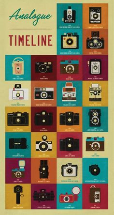 Analog Timeline by Nicole Tan. Old Cameras, Vintage Cameras, Antique Cameras, Photos Vintage, Web Design, Graphic Design, Flat Design, To Do App, Inspiration Artistique